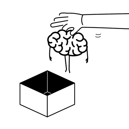 Hand putting brain out of the box. Vector concept illustration of unconventional thinking out of the box | flat design linear infographic icon black on white background