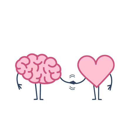 Cerebro y corazón apretón de manos. Ilustración del concepto de vector de trabajo en equipo entre la mente y los sentimientos | icono de infografía lineal de diseño plano colorido sobre fondo blanco