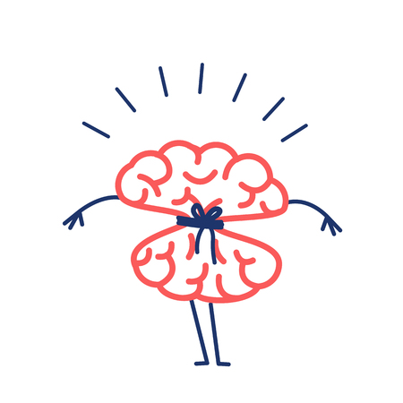 Tied brain with rope. Vector concept illustration of locked strangulation mind | flat design linear infographic icon red and blue on white background Illustration