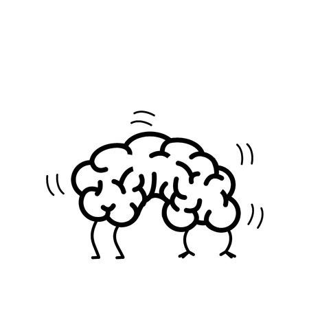 Flexible brain. Vector concept illustration of brain plasticity | flat design linear infographic icon black on white background