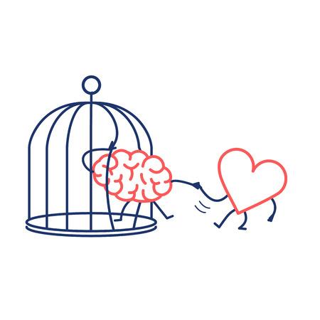 serce pomaga mózgowi uciec z klatki. Koncepcja wektor ilustracja uczuć wsparcie ucieka uwięziony umysł   Płaska konstrukcja liniowy plansza ikona czerwony i niebieski na białym tle