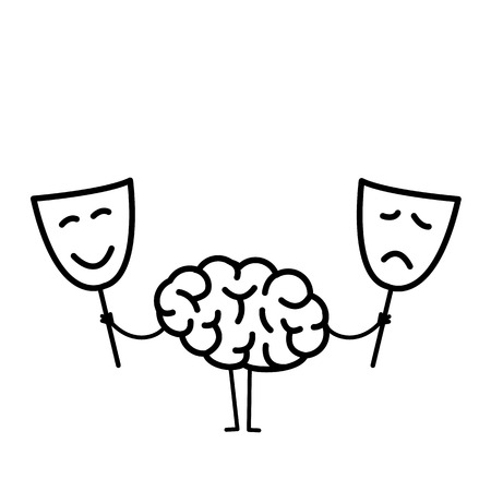 Brain with happy and sad mask. Vector concept illustration of brain deciding which mask to choose | flat design linear infographic icon black on white background