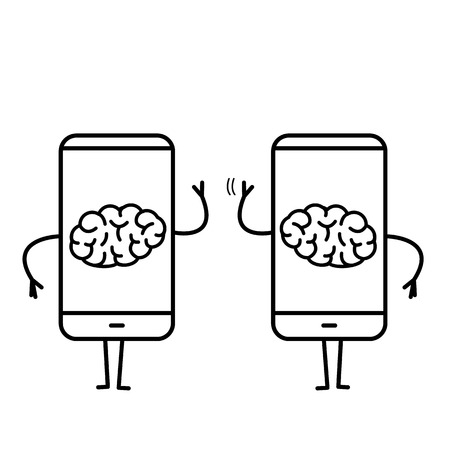 Two brains inside smartphones. Vector concept illustration of brain caged in modern technology | flat design linear infographic icon black on white background