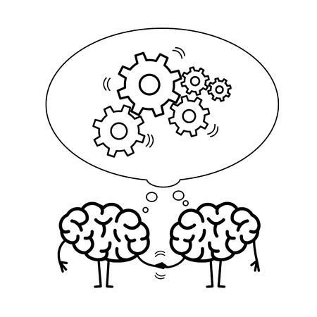 Two brains cooperation. Vector concept illustration of teamwork handshake with bubble with moving gears | flat design linear infographic black on white background