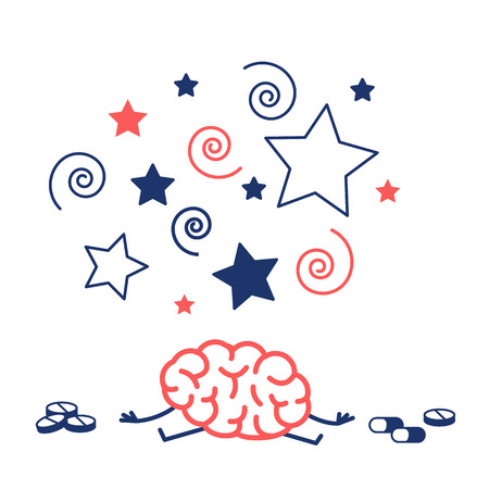 Brain under influence of drugs, pills and medicine. Vector concept illustration of drug or medicine addict | flat design linear infographic red and blue on white background