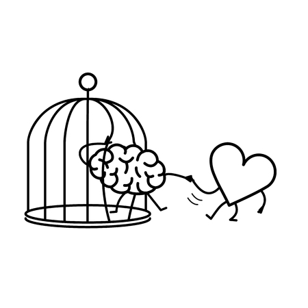 heart helping brain to escape from cage. Vector concept illustration of feelings support escaping imprisoned mind  | flat design linear infographic icon black on white background