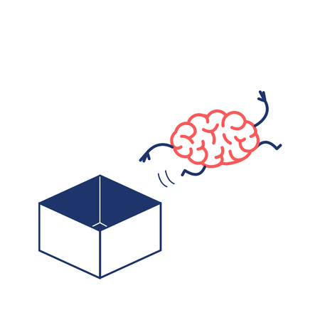 Hand jumping out of the box. Vector concept illustration of unconventional thinking out of the box   flat design linear infographic icon red and blue on white background