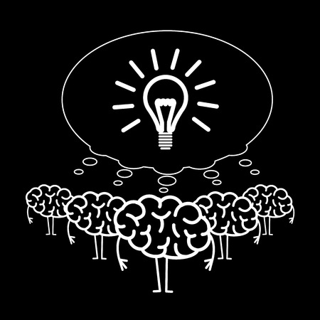 Brain team cooperation. Vector concept illustration of teamwork with on strong idea | flat design linear infographic icon white on black background