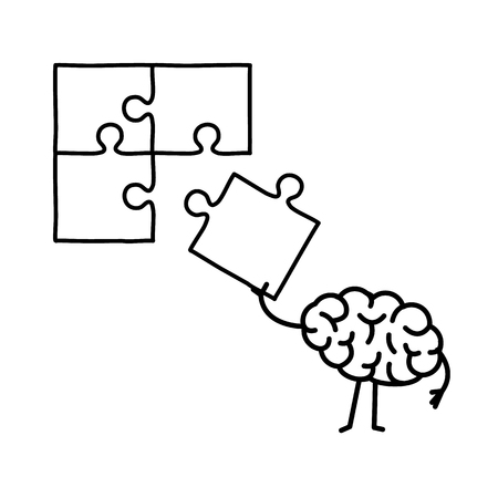 Brain making puzzle. Vector concept illustration of creative mind finding solution | flat design linear infographic icon black on white background