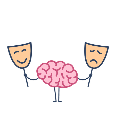 Brain with happy and sad mask. Vector concept illustration of brain deciding which mask to choose | flat design linear infographic icon colorful on white background  イラスト・ベクター素材