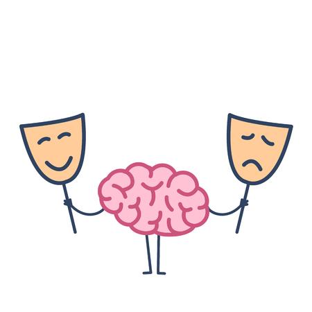 幸せ、悲しいマスクと脳。ベクトルを選択するどのマスクを決定する脳の概念イラスト |白地にカラフルなフラットなデザインの線形インフォ グラ  イラスト・ベクター素材