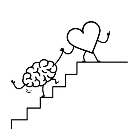 heart helping hand brain to success. Vector concept illustration of heart cooperation with brain on stairs to goal | flat design linear infographic icon black on white background Vectores