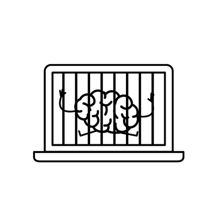 Brain imprisoned in laptop. Vector concept illustration of mind trapped inside computer | flat design linear infographic icon black on white background Illustration