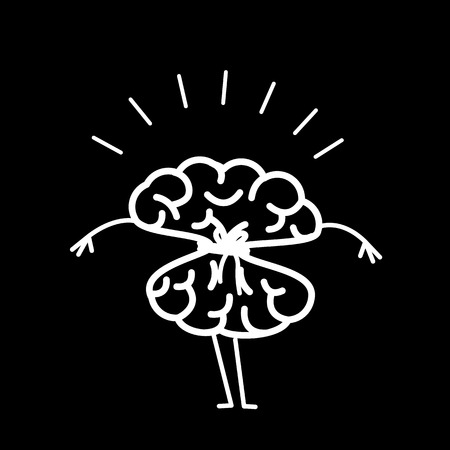 Tied brain with rope. Vector concept illustration of locked strangulation mind   flat design linear infographic icon white on black background