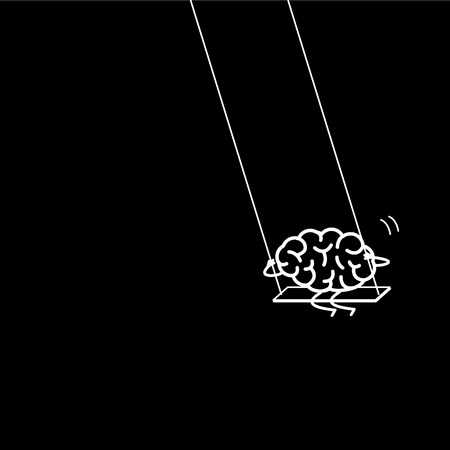Brain swings on swing. Vector concept illustration of happy relaxed creative mind   flat design linear infographic icon white on black background