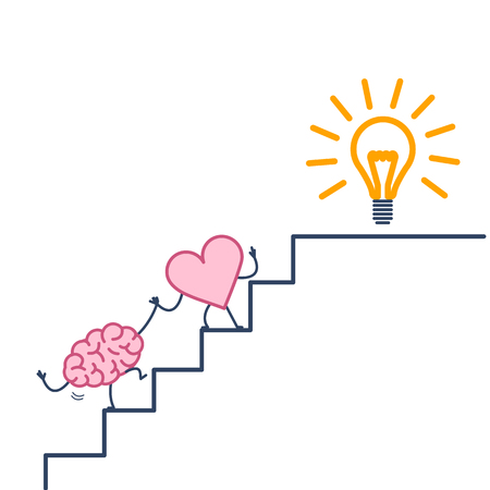 heart leading brain to success. Vector concept illustration of heart cooperation and teamwork with brain on stairs to goal new idea bulb | flat design linear infographic icon colorful on white background Vectores