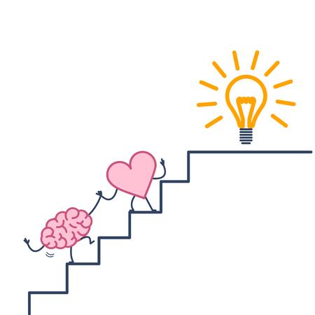cuore che porta il cervello al successo. Illustrazione di concetto di vettore della cooperazione e del lavoro di squadra del cuore con il cervello sulle scale per fare goal alla nuova lampadina di idea | icona infografica lineare di design piatto colorato su sfondo bianco