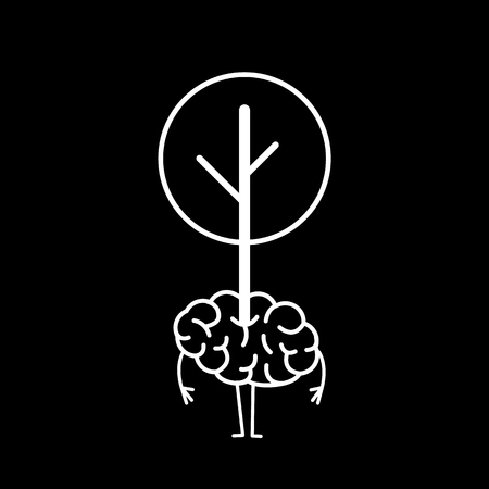 Green brain growing. Vector concept illustration of tree growing out of the brain | flat design linear infographic white on black background