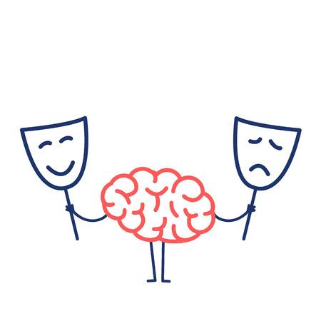 幸せ、悲しいマスクと脳。ベクトルを選択するどのマスクを決定する脳の概念イラスト |赤と白の背景に青のフラット デザイン線形インフォ グラフ  イラスト・ベクター素材
