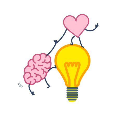 脳と心の連携とチームワーク。心と感情のベクトル概念図、心アイデア電球を脳に登ることができます |白地にカラフルなフラットなデザインの線形  イラスト・ベクター素材