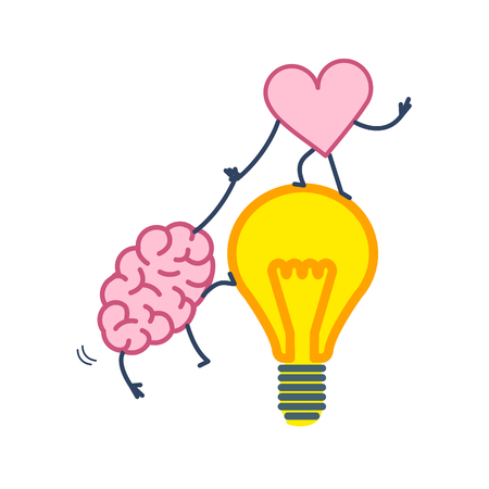 Brain and heart cooperation and teamwork. Vector concept illustration of mind and feelings, heart helps to climb brain on idea bulb | flat design linear infographic icon colorful on white background 일러스트