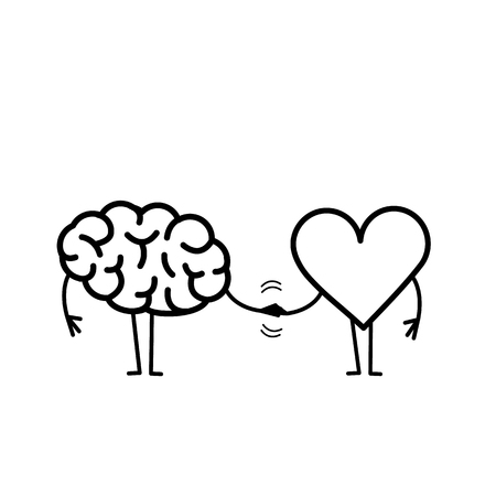 Brain and heart handshake. Vector concept illustration of teamwork between mind and feelings | flat design linear infographic icon black on white background