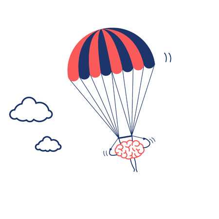 Brain flying on parachute. Vector concept illustration of inventive and creative mind   flat design linear infographic icon red and blue on white background
