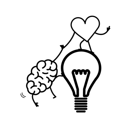 Brain and heart cooperation and teamwork. Vector concept illustration of mind and feelings, heart helps to climb brain on idea bulb | flat design linear infographic icon black on white background