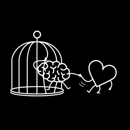 heart helping brain to escape from cage. Vector concept illustration of feelings support escaping imprisoned mind  | flat design linear infographic icon white on black background