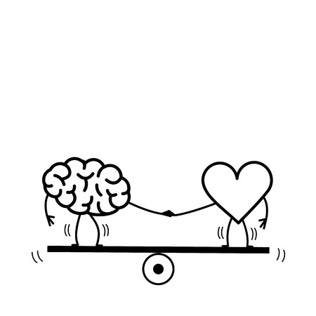 Brain and heart balancing on swing. Vector concept illustration of balance between mind and feelings| flat design linear infographic icon black on white background