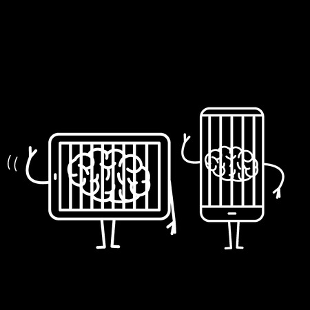 Brain imprisoned in tablet and smartphone. Vector concept illustration of mind trapped in technology gadgets | flat design linear infographic icon white on black background Ilustracje wektorowe