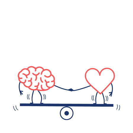 Brain and heart balancing on swing. Vector concept illustration of balance between mind and feelings| flat design linear infographic icon red and blue on white background