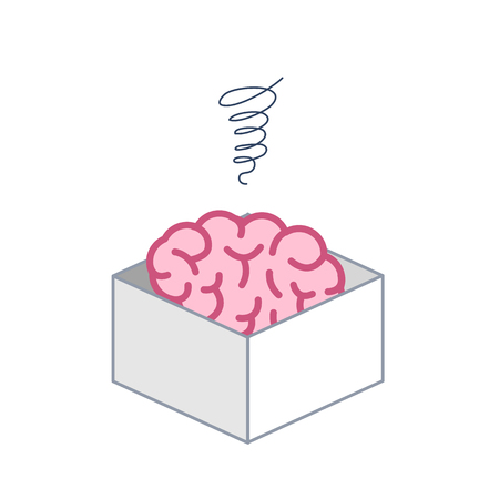 Atrophied brain in the box. Vector concept illustration of mind which stopped developed | flat design linear infographic icon colorful on white background