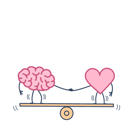 Brain and heart balancing on swing. Vector concept illustration of balance between mind and feelings| flat design linear infographic icon colorful on white background Vectores