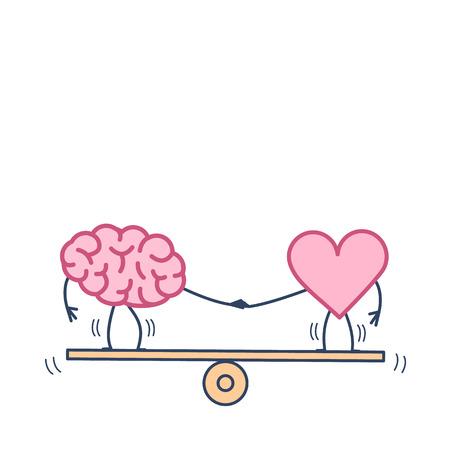 Equilibrio del cerebro y el corazón en el columpio. Ilustración del concepto de vector de equilibrio entre la mente y los sentimientos   icono de infografía lineal de diseño plano colorido sobre fondo blanco