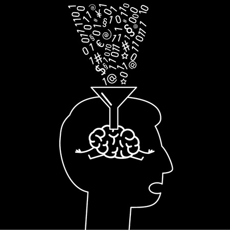 Brain in human head informations filling with funnel. Vector concept illustration of education and information absorbing   flat design linear infographic icon white on black background