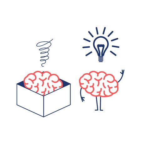 Cerebro pensando fuera de la caja. Ilustración del concepto de vector de cerebro en la caja y fuera de la caja con una nueva idea | icono de infografía lineal de diseño plano rojo y azul sobre fondo blanco