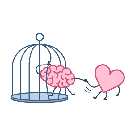 heart helping brain to escape from cage. Vector concept illustration of feelings support escaping imprisoned mind | flat design linear infographic icon colorful on white background