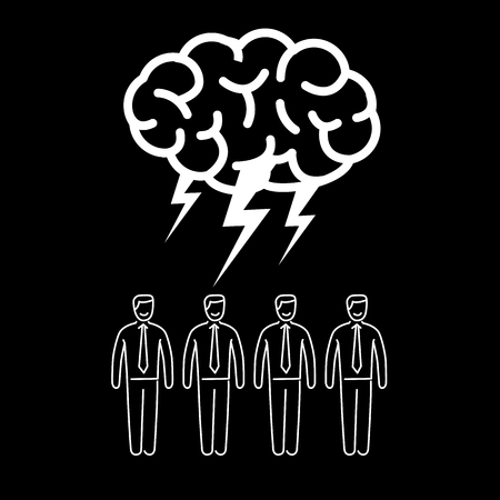 Brainstorm. Vector concept illustration of brainstorming and teamwork | flat design linear infographic icon white on black background