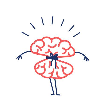 Cerveau attaché avec une corde. Illustration de concept de vecteur de l'esprit d'étranglement verrouillé | icône d'infographie linéaire design plat rouge et bleu sur fond blanc