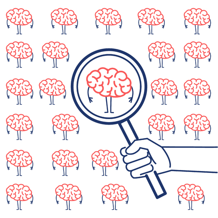 Searching brain or headhunter. Vector concept illustration of hand with magnifying glass searching brain | flat design linear infographic icon red and blue on white background