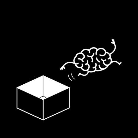 Brain jumping out of the box. Vector concept illustration of unconventional thinking out of the box | flat design linear infographic icon white on black background Vectores