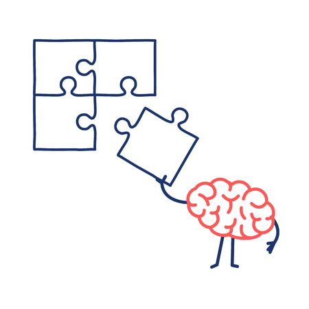 Brain making puzzle. Vector concept illustration of creative mind finding solution | flat design linear infographic icon red and blue on white background