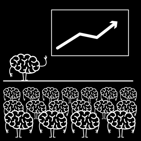 Brain giving a speech on stage. Vector concept illustration of audience, seminar, conference theme  | flat design linear infographic icon white on black background