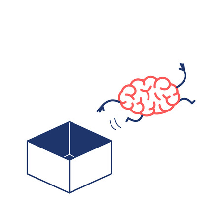 Brain jumping out of the box. Vector concept illustration of unconventional thinking out of the box | flat design linear infographic icon red and blue on white background