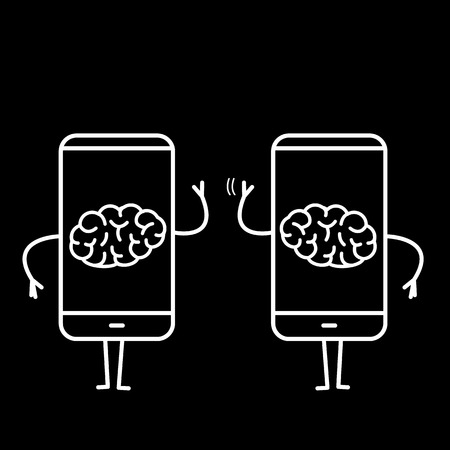 Two brains inside smartphones. Vector concept illustration of brain caged in modern technology | flat design linear infographic icon white on black background Vectores