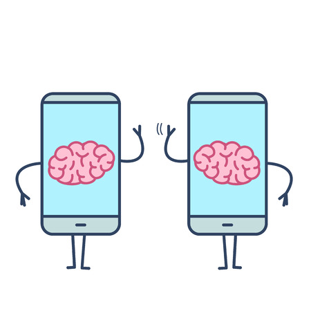 Two brains inside smartphones. Vector concept illustration of brain caged in modern technology | flat design linear infographic icon colorful on white background Vectores