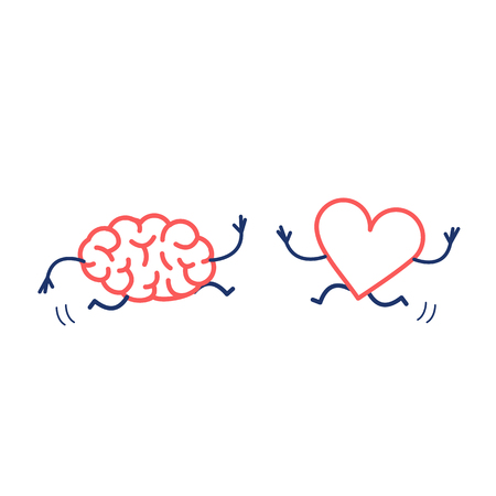 Brain and heart in love running together. Vector concept illustration of mind and feelings cooperation and teamwork | flat design linear infographic icon red and blue on white background Stock Illustratie