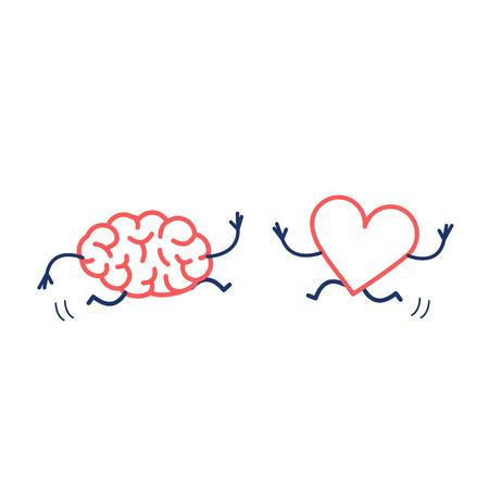 Cerebro y corazón enamorados corriendo juntos. Ilustración del concepto de vector de la cooperación de la mente y los sentimientos y el trabajo en equipo   icono de infografía lineal de diseño plano rojo y azul sobre fondo blanco