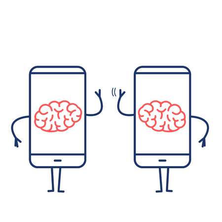 Two brains inside smartphones. Vector concept illustration of brain caged in modern technology | flat design linear infographic icon red and blue on white background
